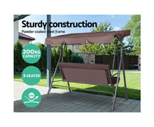 Load image into Gallery viewer, Daly Outdoor Swing Chair Hammock 3 Seater (Dark Brown)