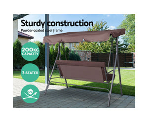 Daly Outdoor Swing Chair Hammock 3 Seater (Dark Brown)