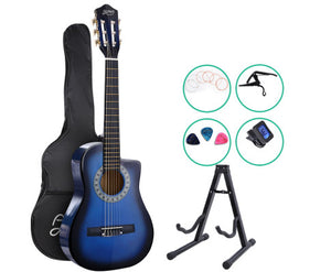 Alpha (Blue) Acoustic Guitar & Accessories + Stand