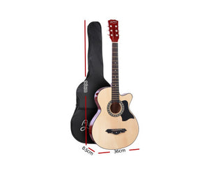"Alpha (Natural) 38"" Acoustic ONLY Guitar Wooden Classic"