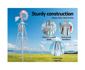 FLF Garden Windmill 6FT 186cm  Outdoor Ornamental (Grey) [EST. RESTOCK TBA]