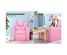 Load image into Gallery viewer, Simpson Children's Recliner Armchair in PU Leather (Pink) [EST. RESTOCK 05/01/21]