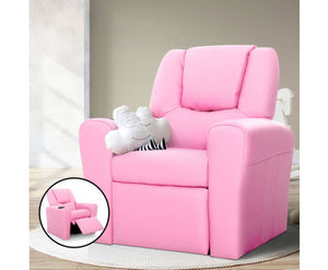 Simpson Children's Recliner Armchair in PU Leather (Pink) [EST. RESTOCK 05/01/21]