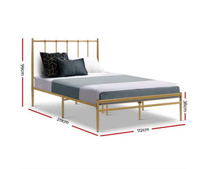 Bee Metal Bed Frame King Single Size Gold Amor {No Mattress}