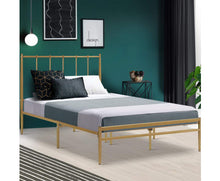 Load image into Gallery viewer, Bee Metal Bed Frame King Single Size Gold Amor {No Mattress}