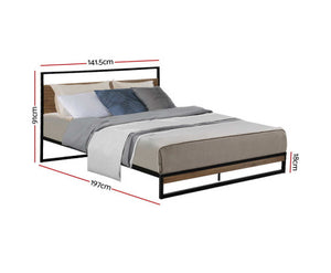 Bee Metal Bed Frame Double Size Black {No Mattress}