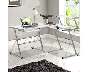 Rod Three-piece Corner Computer Desk (White)