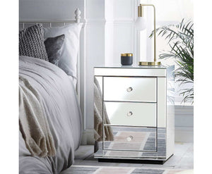 Suzi Mirror Finished Bedside table 3 x Drawers Mirror Glass (Silver) x 1