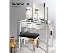 Load image into Gallery viewer, Suzi Mirrored Finish Dressing Table with Stool & Mirror Set (Silver) [EST. RESTOCK 30/11/20]