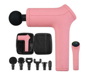 Muscle Tissue Massage Percussion Therapy (Pink) AU Electric LCD Massager + 6 Heads