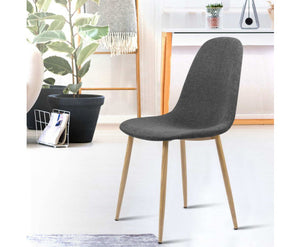Garry Set of 4 Fabric Dining Chairs (Dark Grey)