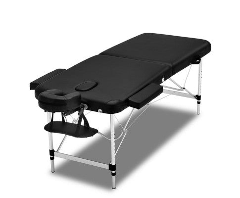FLF 75cm Wide Portable Folding Aluminium Massage Table (Black)