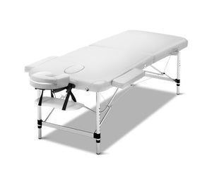 FLF 75cm Wide Portable Folding Aluminium Massage Table (White)