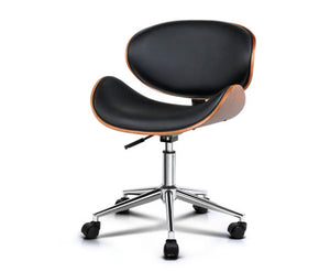 Rebekah OFFICE Stool (Black, Timber & Chrome) x 1