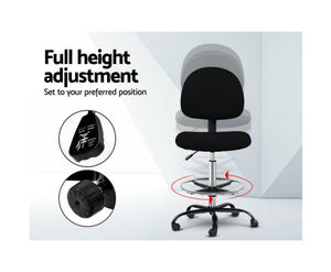 Isaac Office / Drafting Chair - Black - Armless, Mobility [EST. RESTOCK 10/11/20]