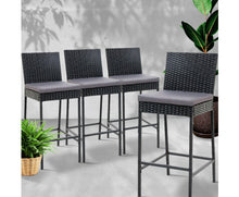 Load image into Gallery viewer, Bob PE Wicker Bar Stools x 4 (Black & Grey)