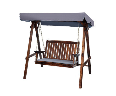Daydream Outdoor Wooden Swing Chair/Canopy 2 Seater (Charcoal)