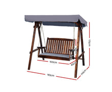 Load image into Gallery viewer, Daydream Outdoor Wooden Swing Chair/Canopy 2 Seater (Charcoal)