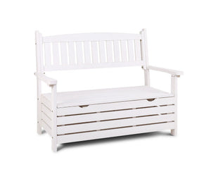 Fred 2 Seat Wooden Outdoor Storage Bench (White)