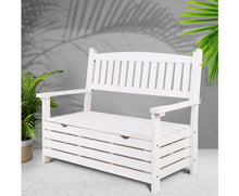 Load image into Gallery viewer, Fred 2 Seat Wooden Outdoor Storage Bench (White)