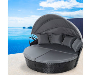 Raelene Outdoor Wicker Garden Day Bed with Canopy (Grey & Black)