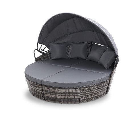 Raelene Outdoor Wicker Garden Day Bed with Canopy (Grey)