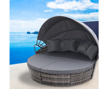 Load image into Gallery viewer, Raelene Outdoor Wicker Garden Day Bed with Canopy (Grey)