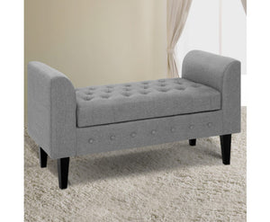 Minnie Storage Ottoman / Footstool (Lt. Grey- tomes may vary slightly)