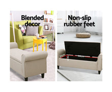 Load image into Gallery viewer, Yardley Storage Ottoman / Blanket Box / Footstool  (Fabric/Taupe)