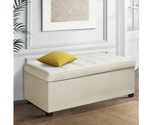 Load image into Gallery viewer, Wyatt - PU Leather Storage Ottoman / Footstool - (Cream/White)