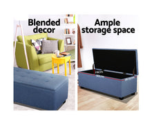 Load image into Gallery viewer, Daisy Storage Ottoman - (Fabric/Blue)