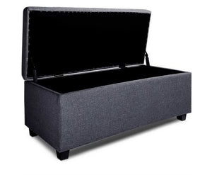 Daisy Storage Ottoman - (Fabric/Darkish Grey)
