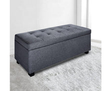 Load image into Gallery viewer, Daisy Storage Ottoman - (Fabric/Darkish Grey)
