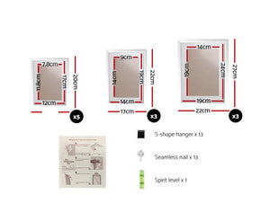 Mandy 11 PCS Wall Collage Picture / Photo Frame Set (White)