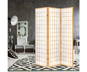 Sunso Privacy Screen / Room Divider - 3 x Panel (Natural & White)
