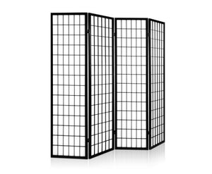 Sunso Privacy Screen / Room Divider - 4 x Panel (Black & White)