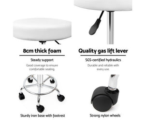 Michaela Salon Stool - White on Chrome - Adjustable [EST. RESTOCK 25/10/20]