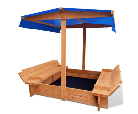 Bart Wooden Outdoor Sand Box+ Canopy Set- Natural Wood * $PECIAL