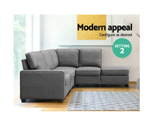 Load image into Gallery viewer, Ann Sofa Lounge Set 5 Seater Modular + Chaise Fabric (Lt. Grey)