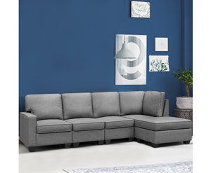 Ann Sofa Lounge Set 5 Seater Modular + Chaise Fabric (Lt. Grey)