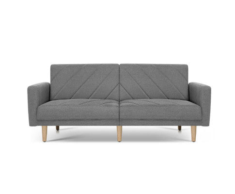 Lou Sofa Bed/Lounge 3 Seater (Grey) Fabric 193cm