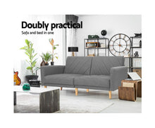 Load image into Gallery viewer, Lou Sofa Bed/Lounge 3 Seater (Grey) Fabric 193cm