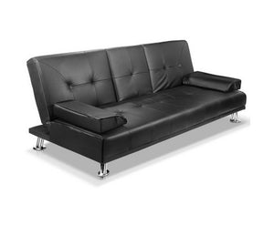 Claire 3 Seater Fabric Sofa Bed (Black) * $PECIAL