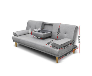 Claire 3 Seater Fabric Sofa Bed - (Grey)
