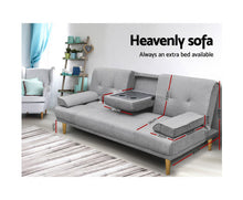 Load image into Gallery viewer, Claire 3 Seater Fabric Sofa Bed - (Grey)