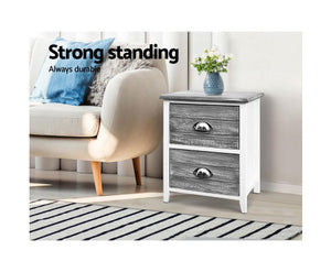 Neptune  2x Bedside Table with 2 Drawers (Grey)