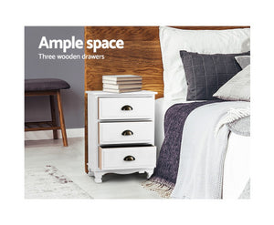 Venus Vintage Bedside Table 3 Drawers (White) * $PECIAL