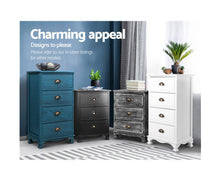 Load image into Gallery viewer, Ida Vintage Bedside Cabinet, 4 Drawer (Blue)