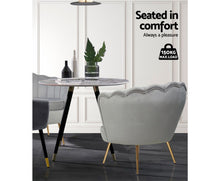 Load image into Gallery viewer, Olivia Retro Single Sofa Chair (Velvet Grey & Golden Legs)