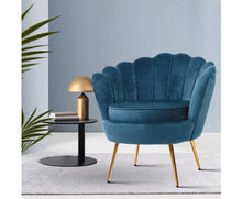 Load image into Gallery viewer, Olivia Retro Single Sofa Chair  (Velvet Navy & Golden Legs)